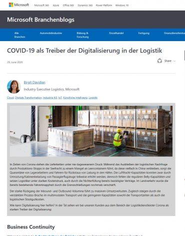COVID-19 als Treiber der Digitalisierung in der Logistik Teaser Grafik