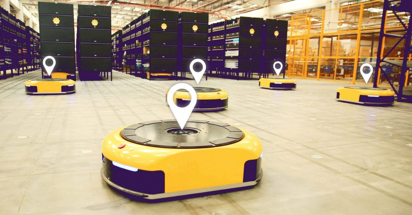 AGV im Warehouse - Beispielbild Real time Tracking