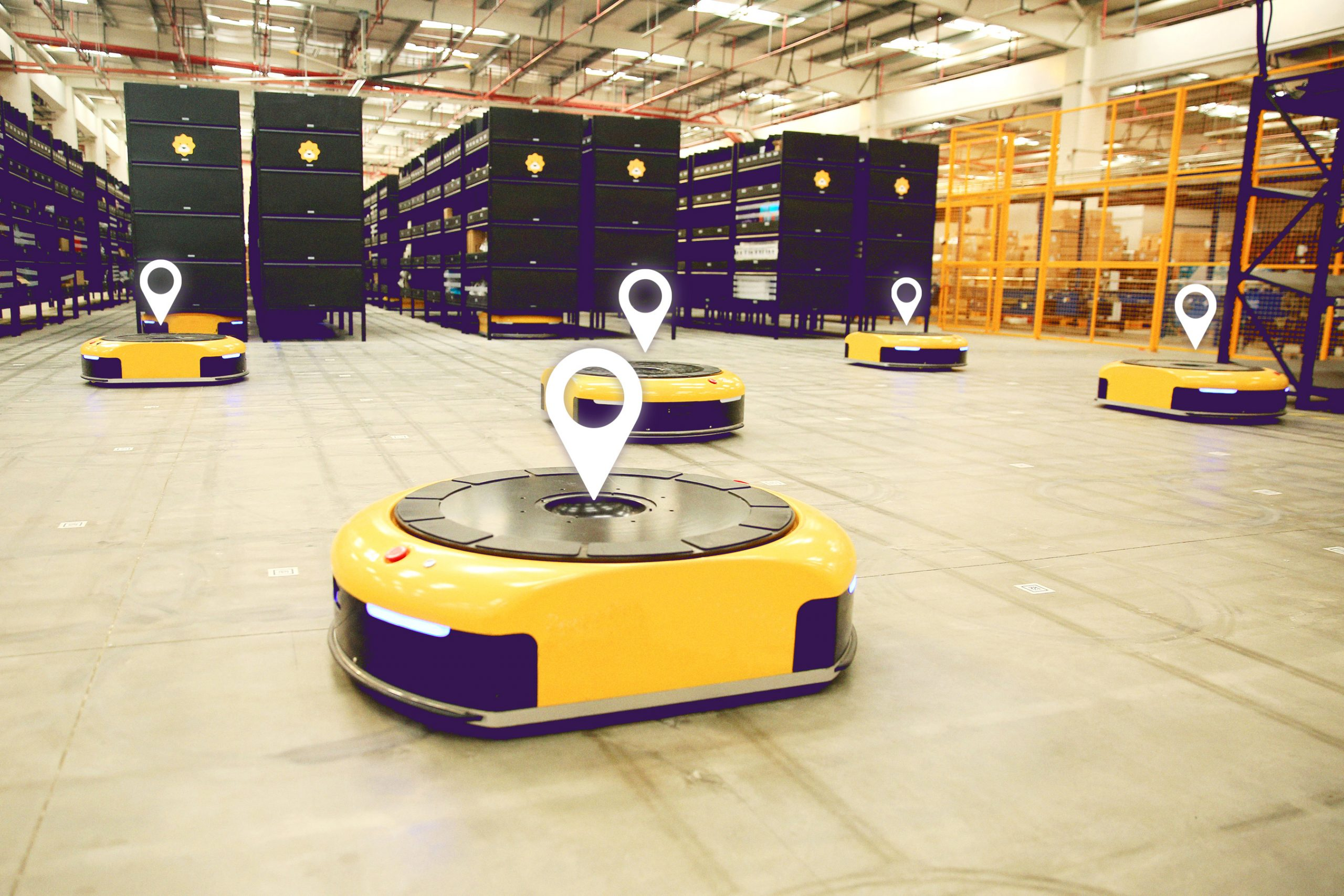 AGV Tracking im warehouse- example picture